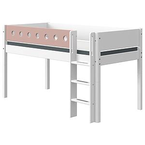 Cama media alta 90x190cm escalera recta WHITE Flexa blanco-rosa claro
