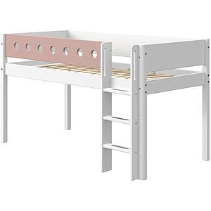 Cama media alta 90x190cm escalera recta WHITE Flexa blanco-rosa claro