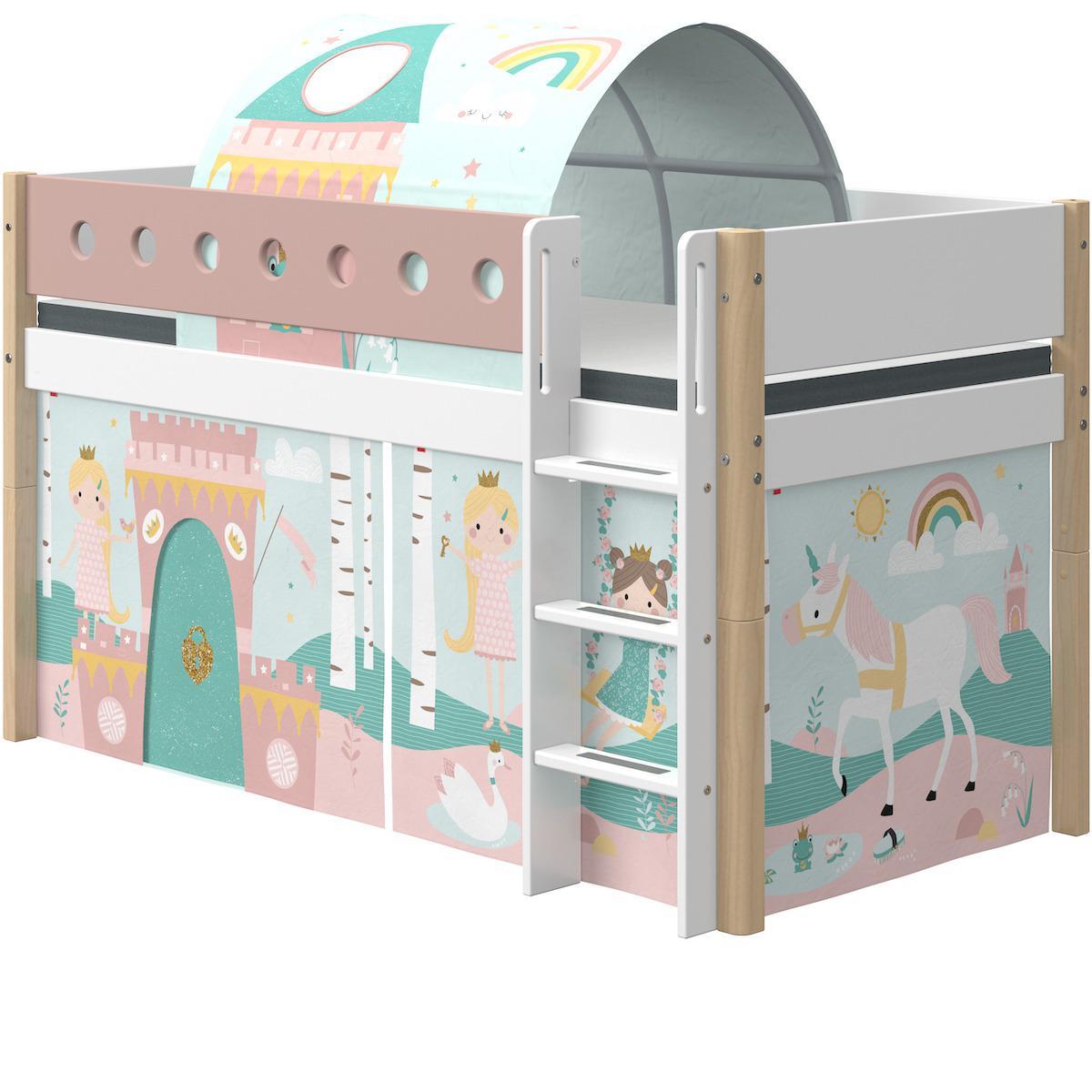Cama media alta 90x190cm escalera recta WHITE Flexa natural-rosa claro