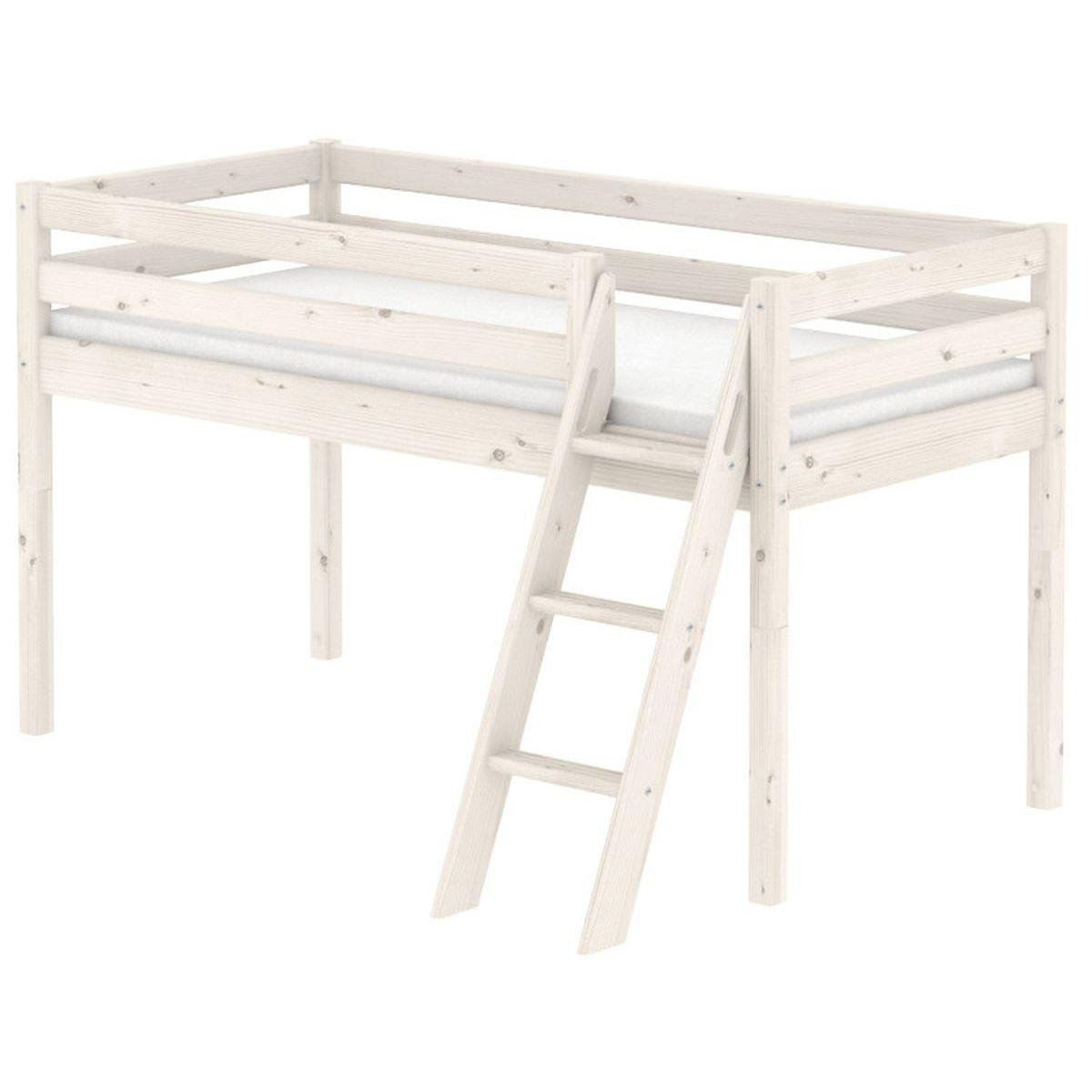 Cama media alta 90x200 CLASSIC Flexa escalera inclinada blanco cal