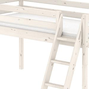 Cama media alta 90x200 CLASSIC Flexa escalera inclinada blanco cal