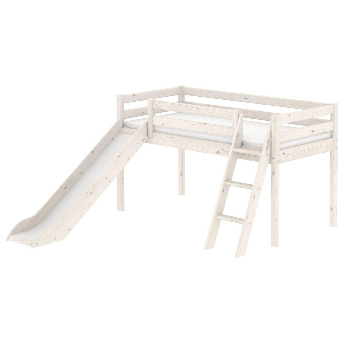 Cama media alta 90x200 CLASSIC Flexa escalera inclinada tobogán blanco cal