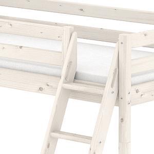 Cama media alta 90x200 CLASSIC Flexa escalera inclinada tobogán blanco cal