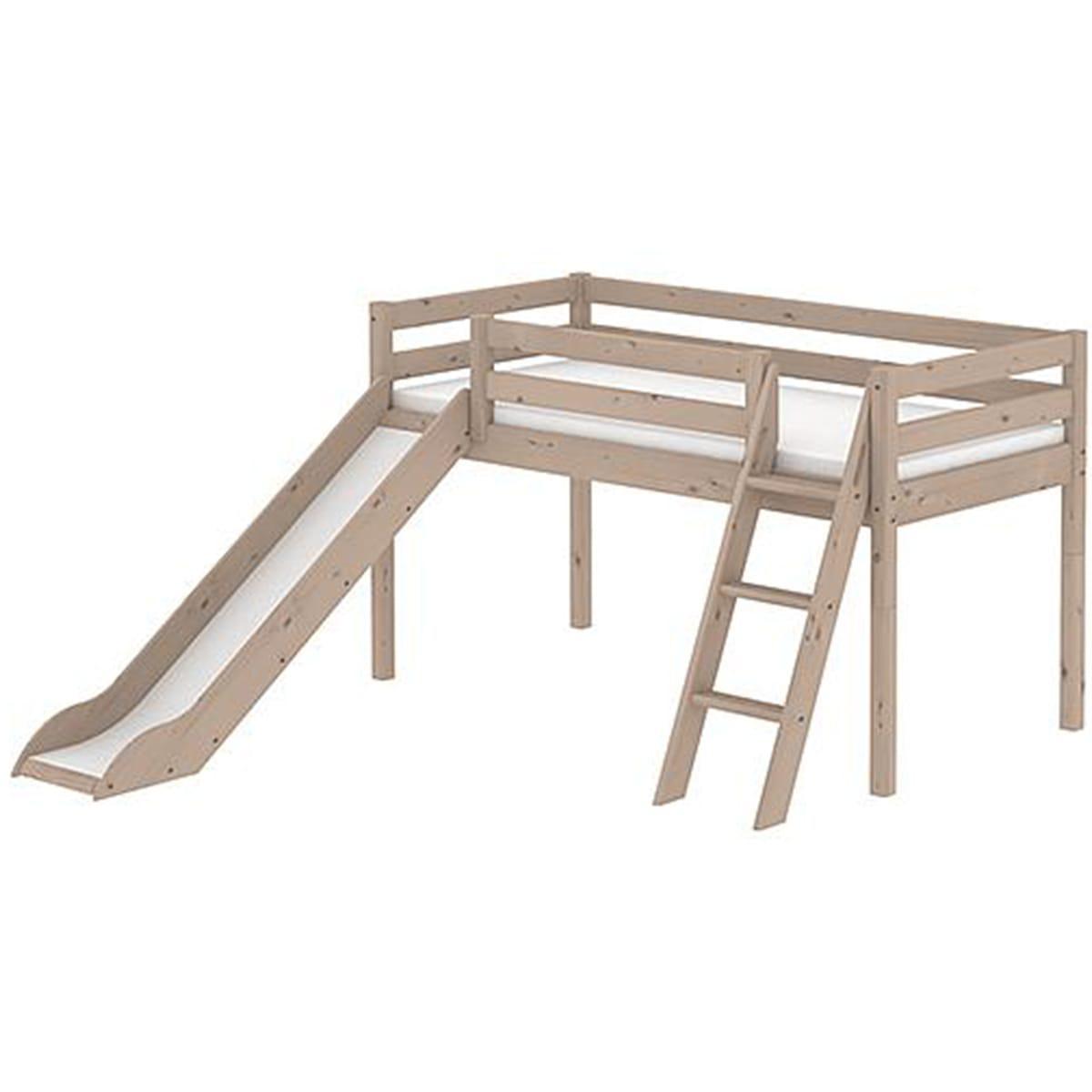 Cama media alta 90x200 CLASSIC Flexa escalera inclinada tobogán terra