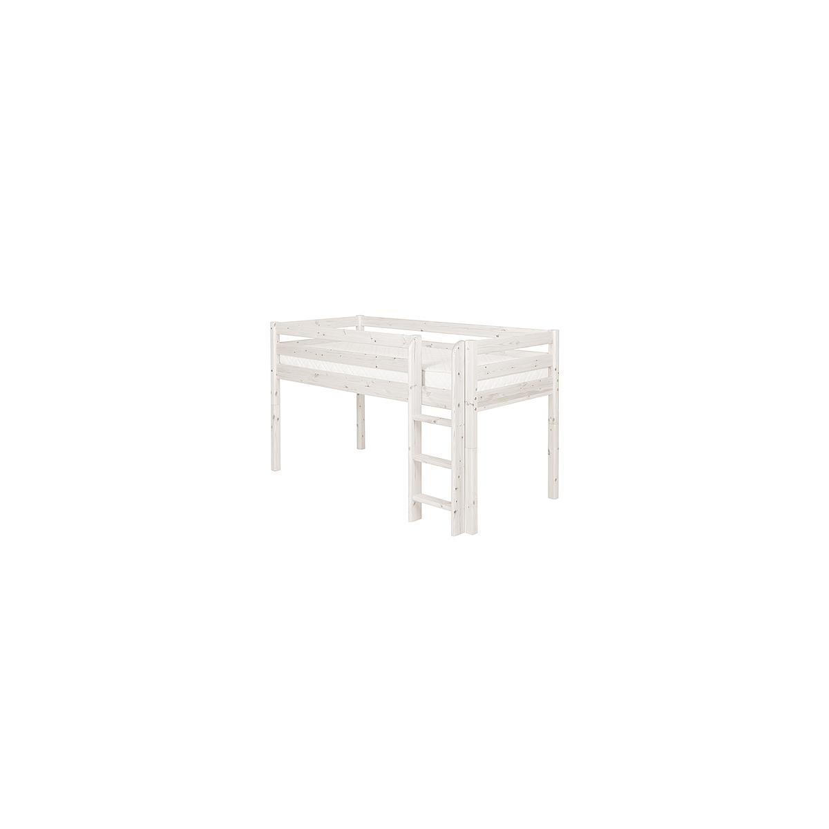 Cama media alta 90x200 CLASSIC Flexa escalera recta blanco cal