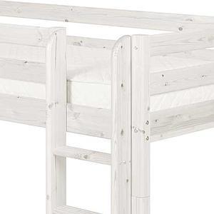 Cama media alta 90x200 CLASSIC Flexa escalera recta blanco cal