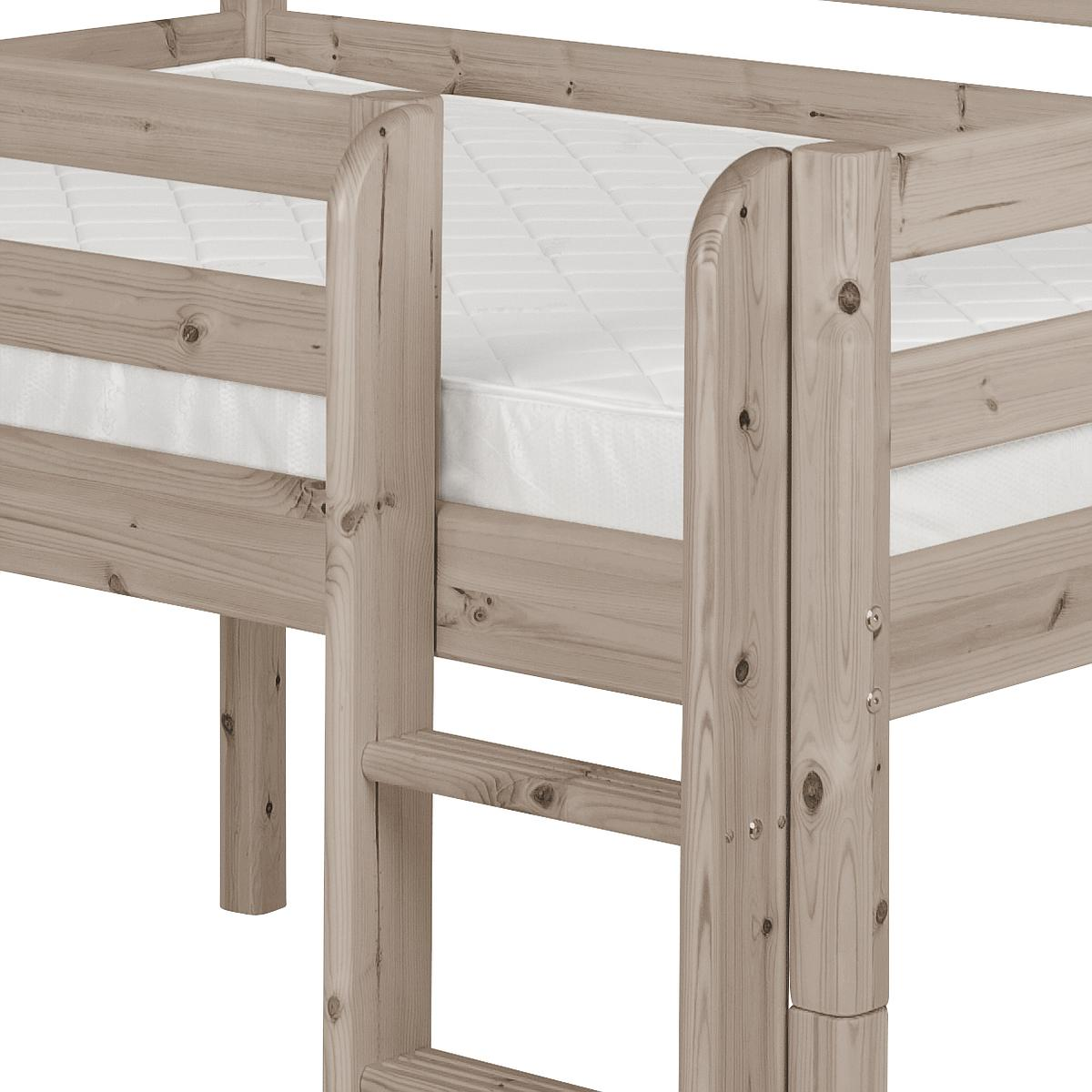 Cama media alta 90x200 CLASSIC Flexa escalera recta terra