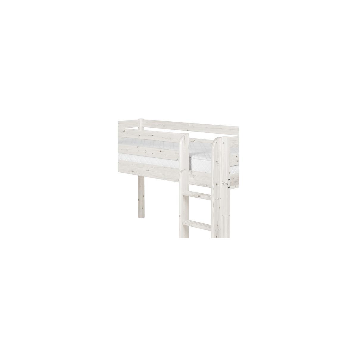 Cama media alta 90x200 CLASSIC Flexa escalera recta tobogán blanco cal