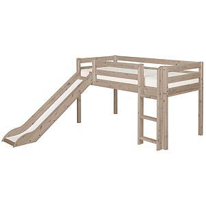 Cama media alta 90x200 CLASSIC Flexa escalera recta tobogán terra