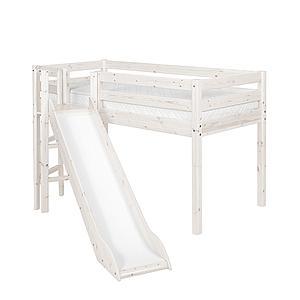Cama media alta 90x200 CLASSIC Flexa plataforma y tobogán blanco cal