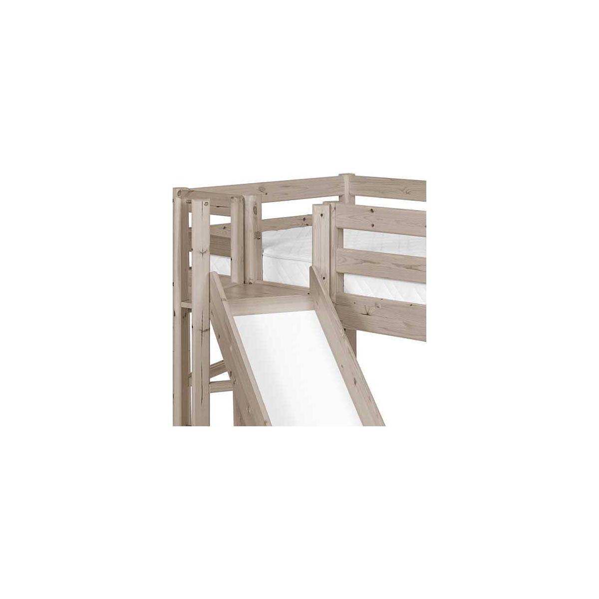 Cama media alta 90x200 CLASSIC Flexa plataforma y tobogán terra