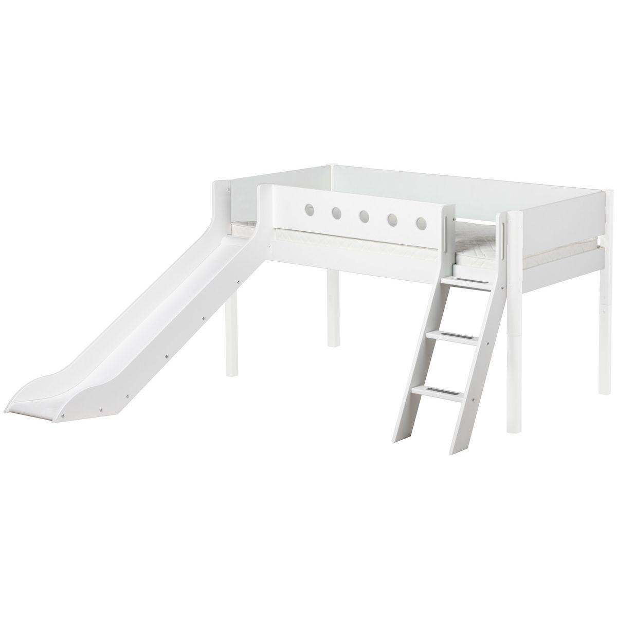 Cama media alta 90x200 WHITE Flexa escalera inclinada tobogán barrera y patas blancas