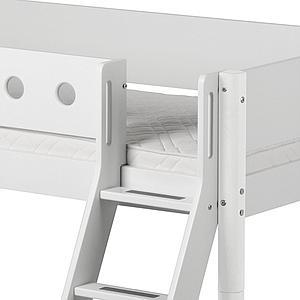 Cama media alta 90x200 WHITE Flexa escalera inclinada tobogán barrera y patas blancas