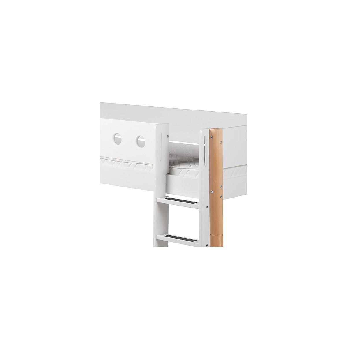 Cama media alta 90x200 WHITE Flexa escalera recta barrera blanca patas abedul
