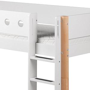 Cama media alta 90x200 WHITE Flexa escalera recta barrera blanca patas abedul