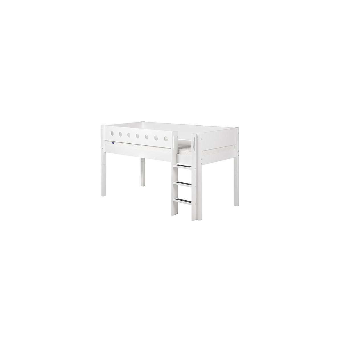 Cama media alta 90x200 WHITE Flexa escalera recta barrera y patas blancas
