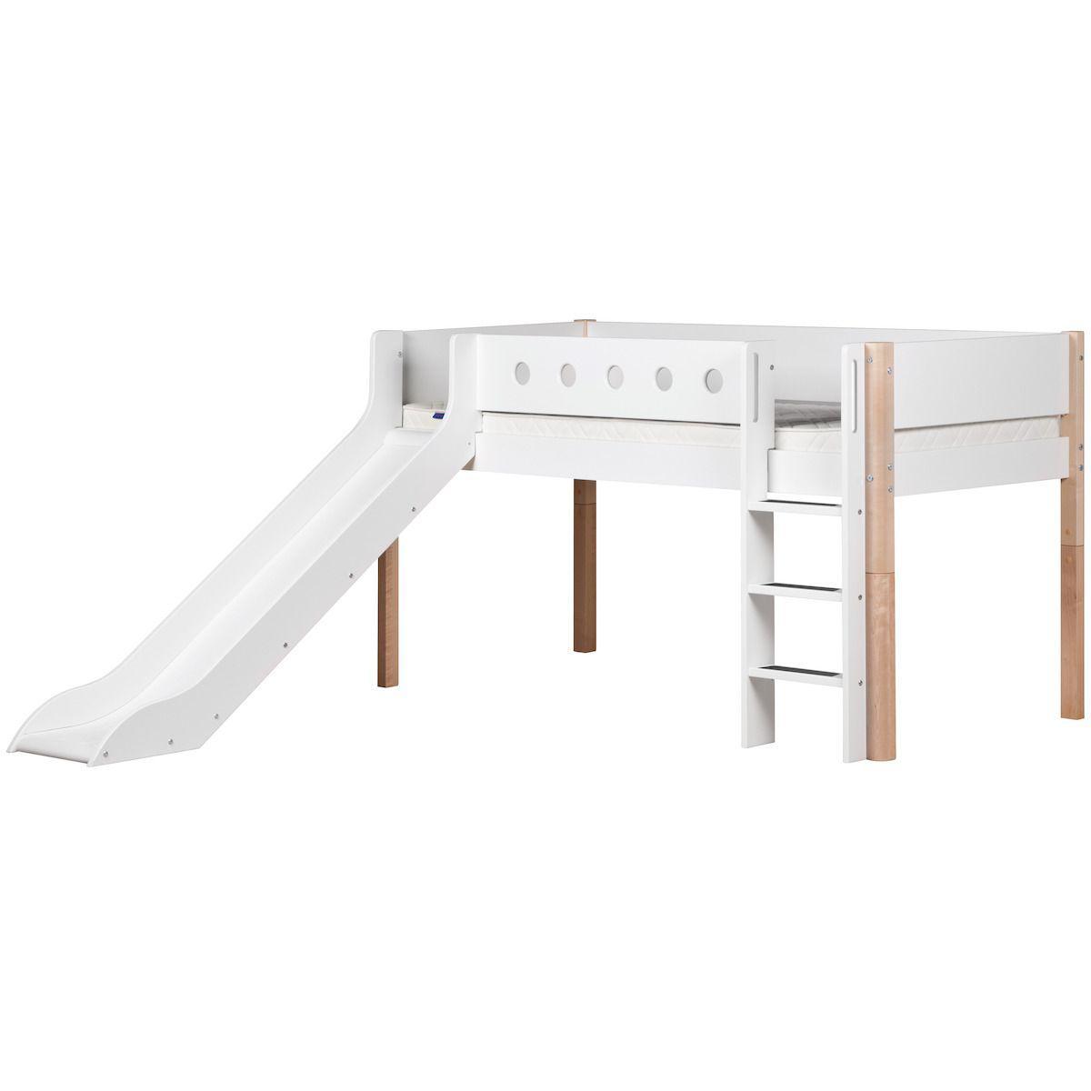 Cama media alta 90x200 WHITE Flexa escalera recta tobogán barrera blanca patas abedul