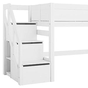 Cama media alta 90x200cm escalera cajones Lifetime blanco