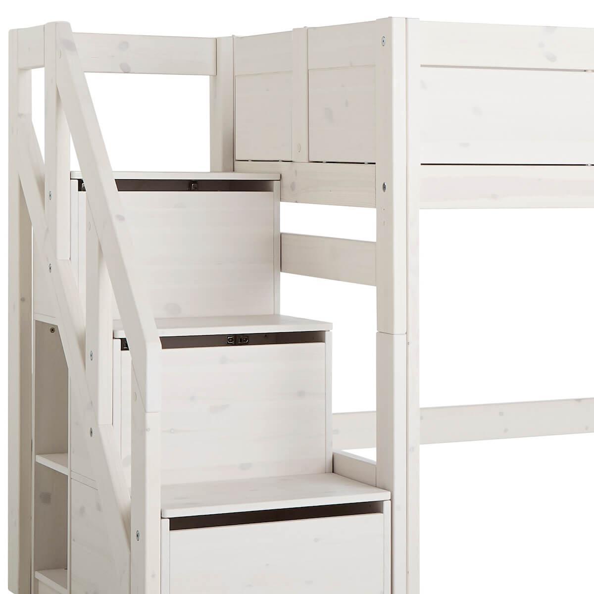 Cama media alta 90x200cm escalera cajones Lifetime blanqueado