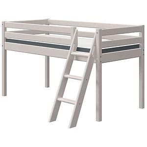 Cama media alta 90x200cm escalera inclinada CLASSIC Flexa grey washed
