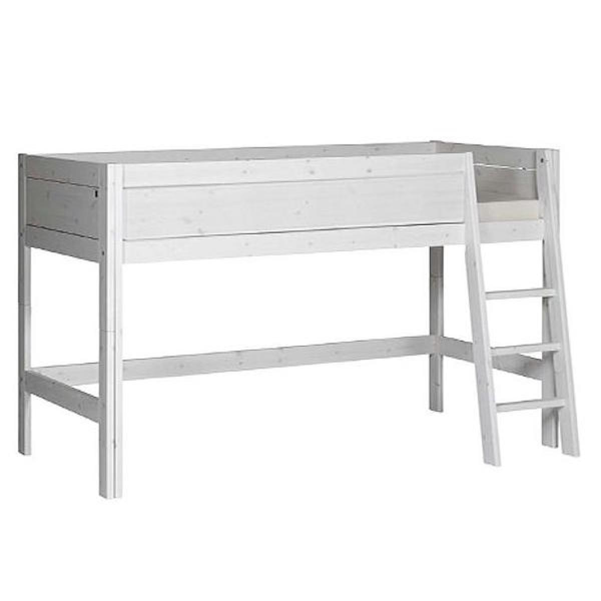 Cama media alta 90x200cm escalera inclinada-somier DELUXE Lifetime blanqueado