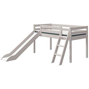 Cama media alta 90x200cm escalera inclinada-tobogán CLASSIC Flexa grey washed