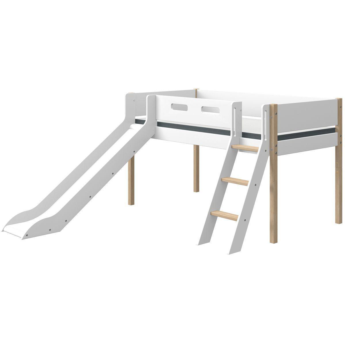 Cama media alta 90x200cm escalera inclinada-tobogán NOR Flexa roble-blanco