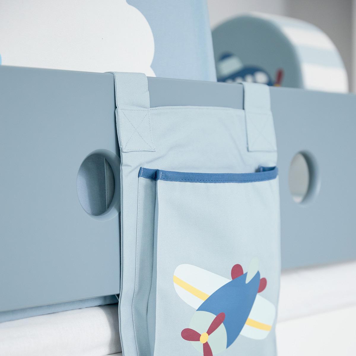 Cama media alta 90x200cm escalera inclinada WHITE Flexa blanco-azul claro