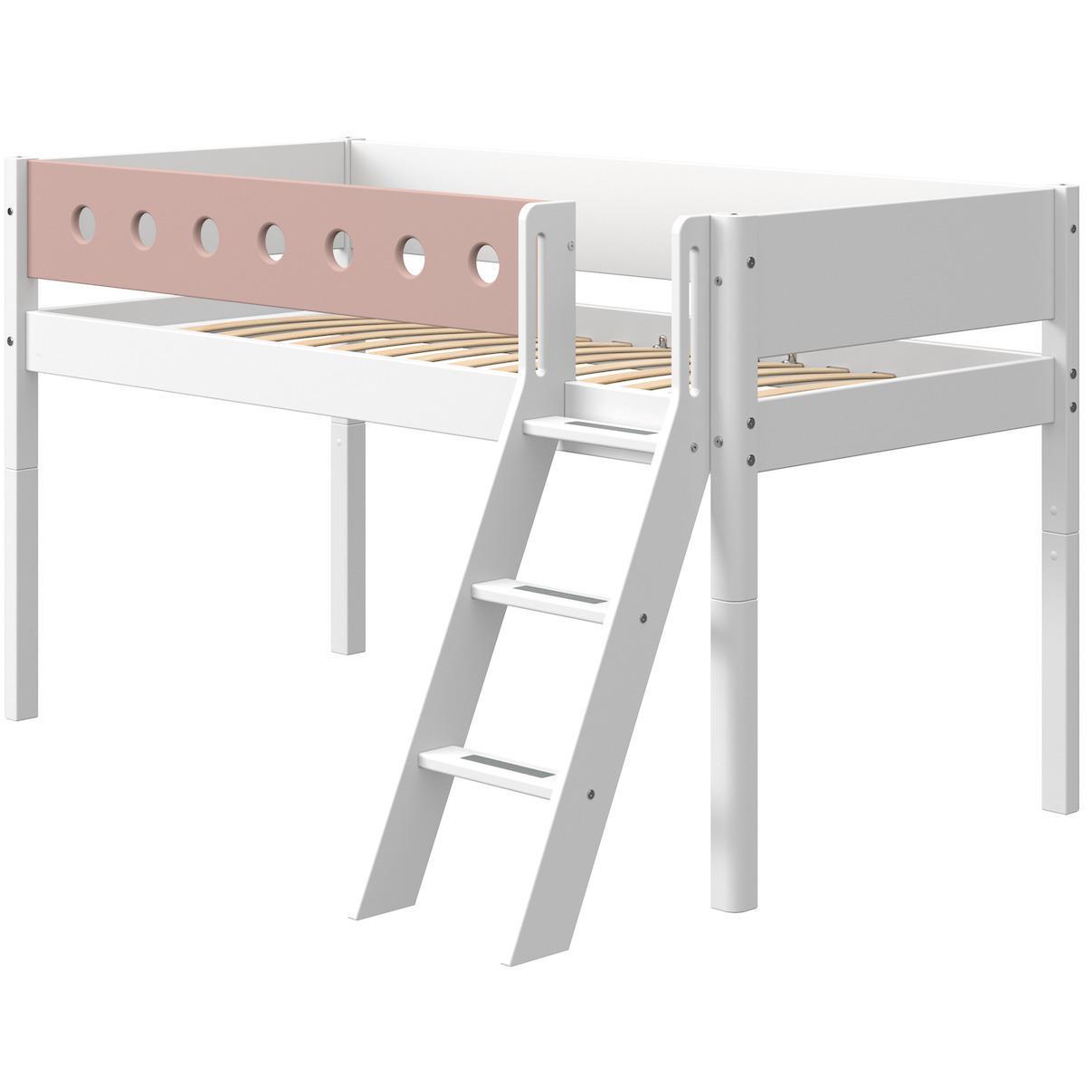 Cama media alta 90x200cm escalera inclinada WHITE Flexa blanco-rosa claro