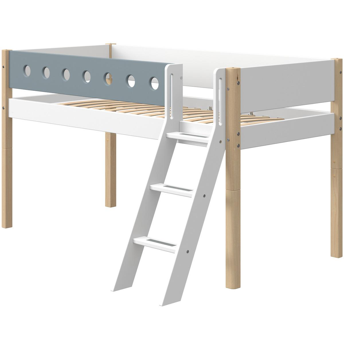 Cama media alta 90x200cm escalera inclinada WHITE Flexa natural-azul claro