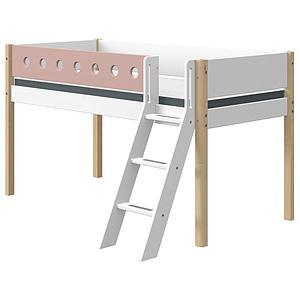 Cama media alta 90x200cm escalera inclinada WHITE Flexa natural-rosa claro