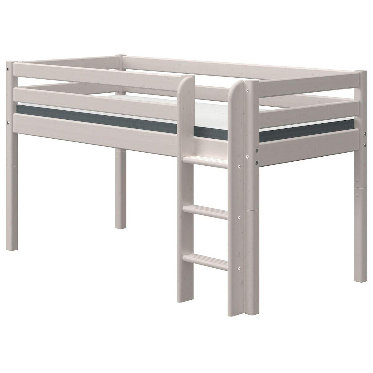 Cama media alta 90x200cm escalera recta CLASSIC Flexa grey washed