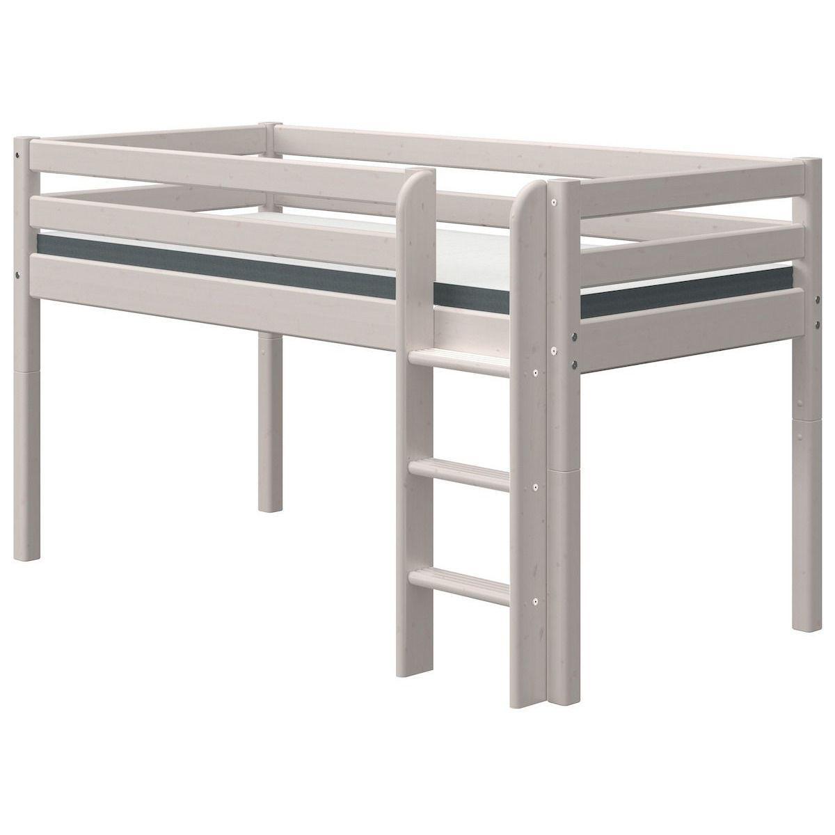 Cama media alta 90x200cm escalera recta CLASSIC Flexa grey washed