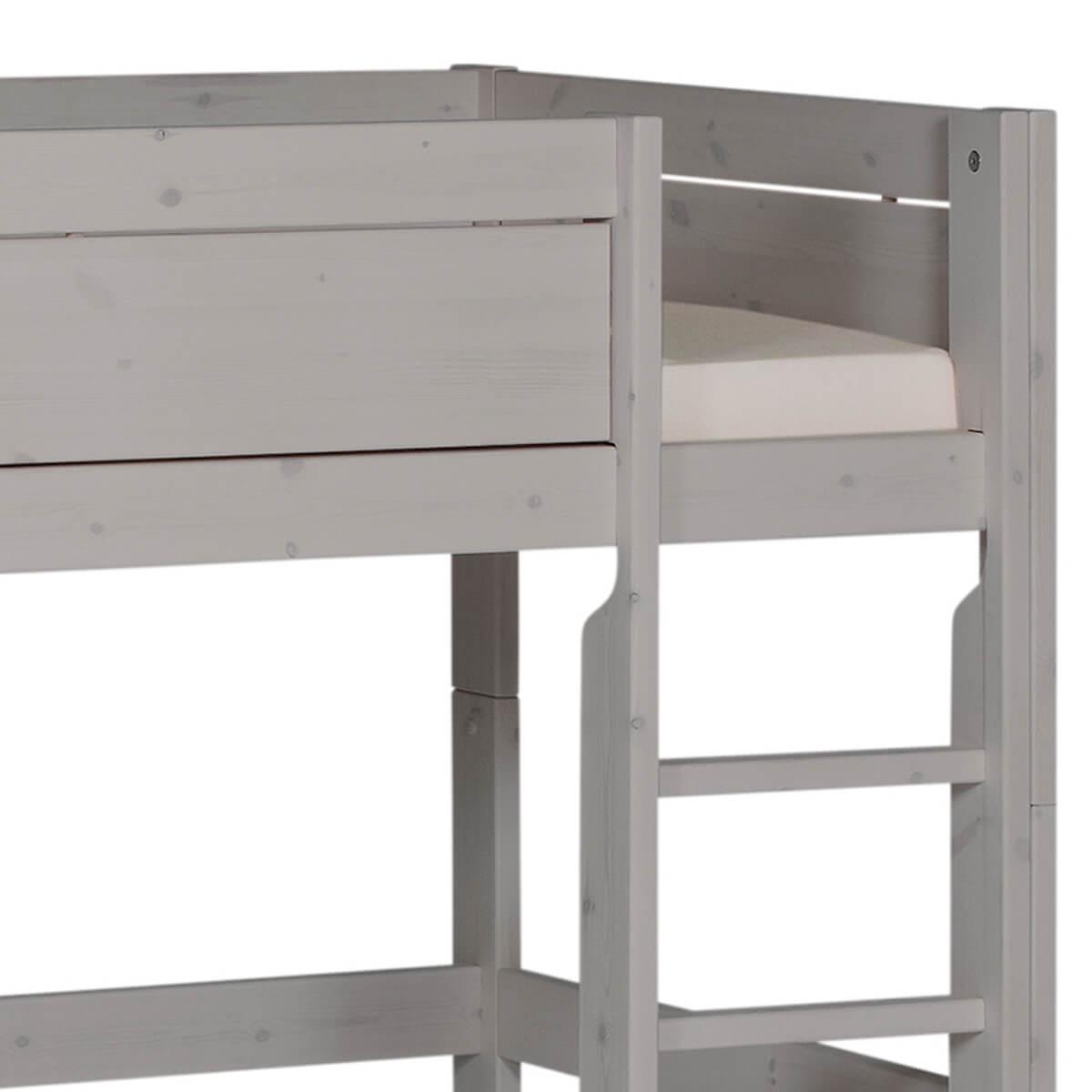 Cama media alta 90x200cm escalera recta Lifetime grey washed