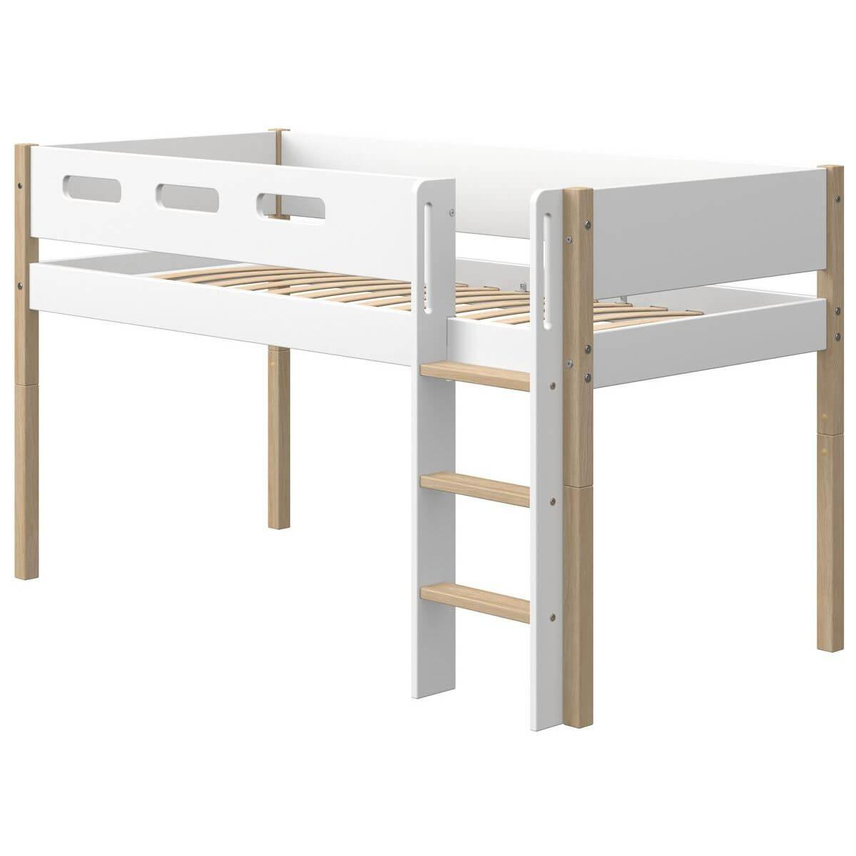 Cama media alta 90x200cm escalera recta NOR Flexa roble-blanco