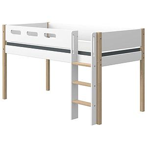 Cama media alta 90x200cm escalera recta NOR Flexa roble-blanco