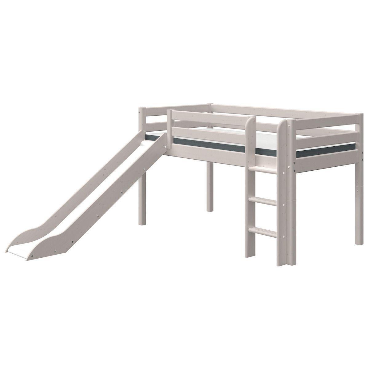 Cama media alta 90x200cm escalera recta-tobogán CLASSIC Flexa grey washed