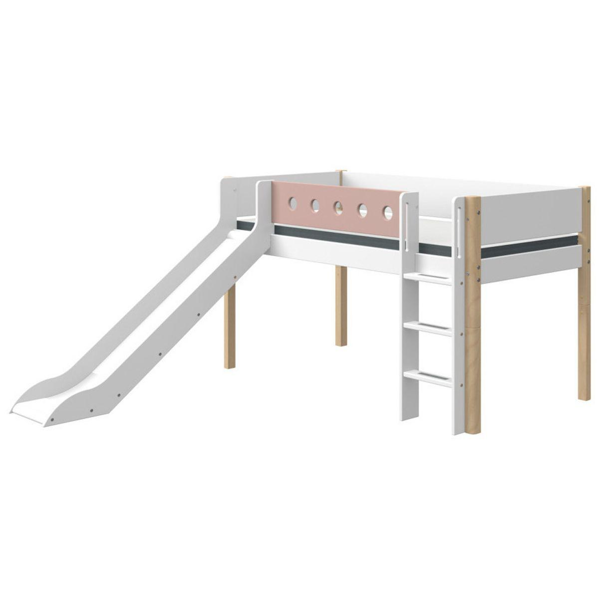 Cama media alta 90x200cm escalera recta-tobogán WHITE Flexa natural-rosa claro