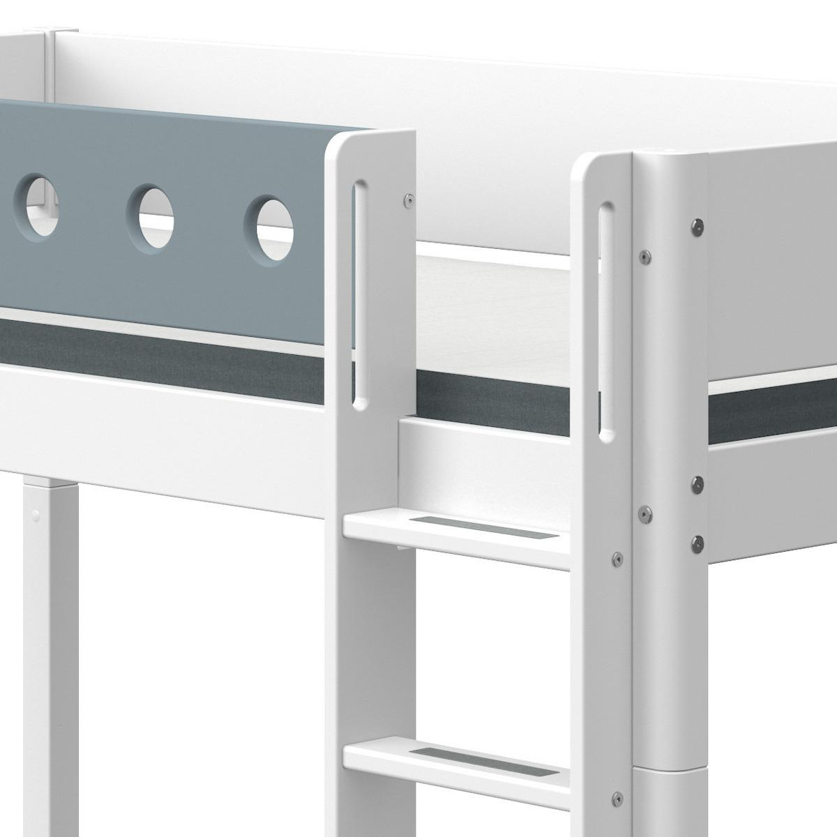 Cama media alta 90x200cm escalera recta WHITE Flexa blanco-azul claro