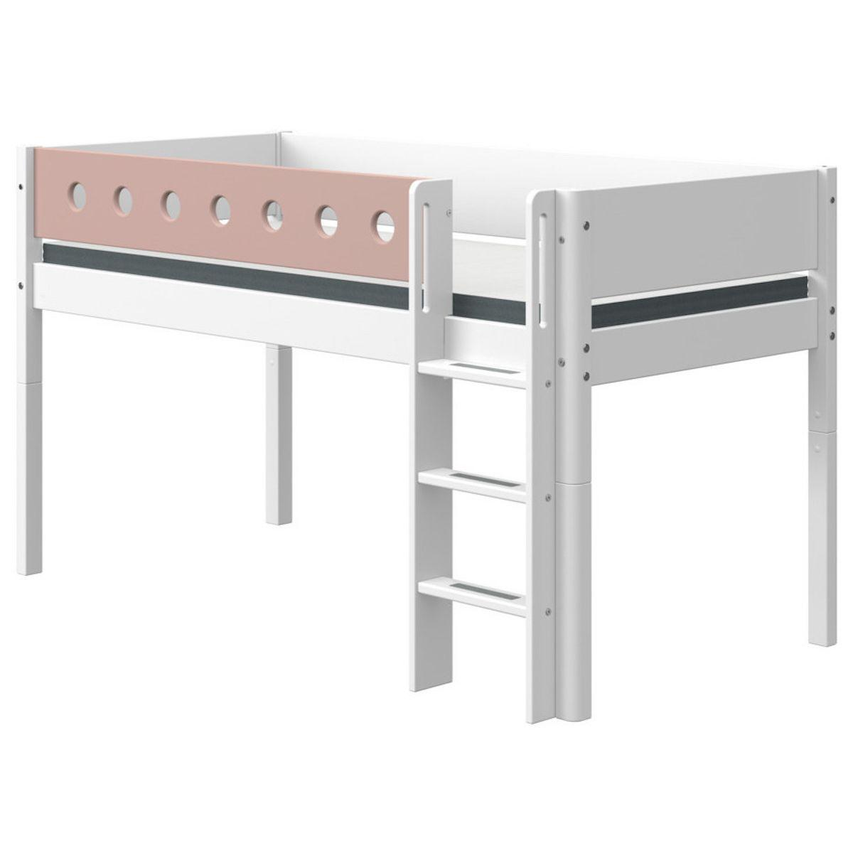 Cama media alta 90x200cm escalera recta WHITE Flexa blanco-rosa claro