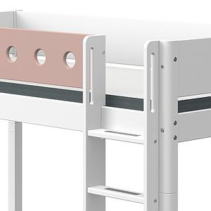 Cama media alta 90x200cm escalera recta WHITE Flexa blanco-rosa claro