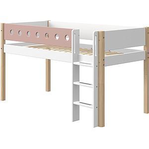 Cama media alta 90x200cm escalera recta WHITE Flexa natural-rosa claro