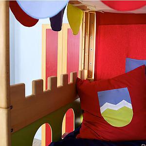 Cama media alta-dosel Castillo DELUXE de Breuyn aceitado-verde