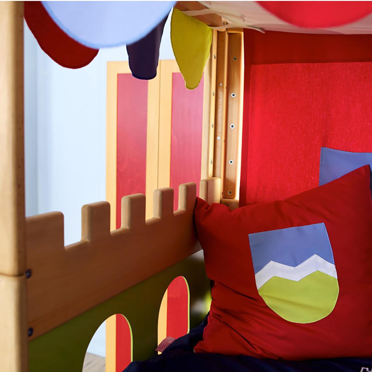 Cama media alta-dosel Castillo DELUXE de Breuyn haya aceitada-verde