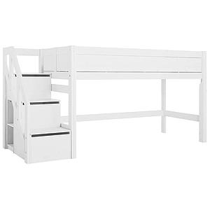 Cama media alta-escalera cajones 90x200cm Lifetime blanco