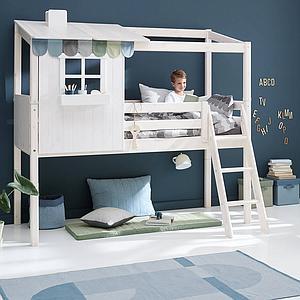 Cama media alta evolutiva cabaña 90x200cm 1/1 PLAY HOUSE CLASSIC Flexa terra-blanco