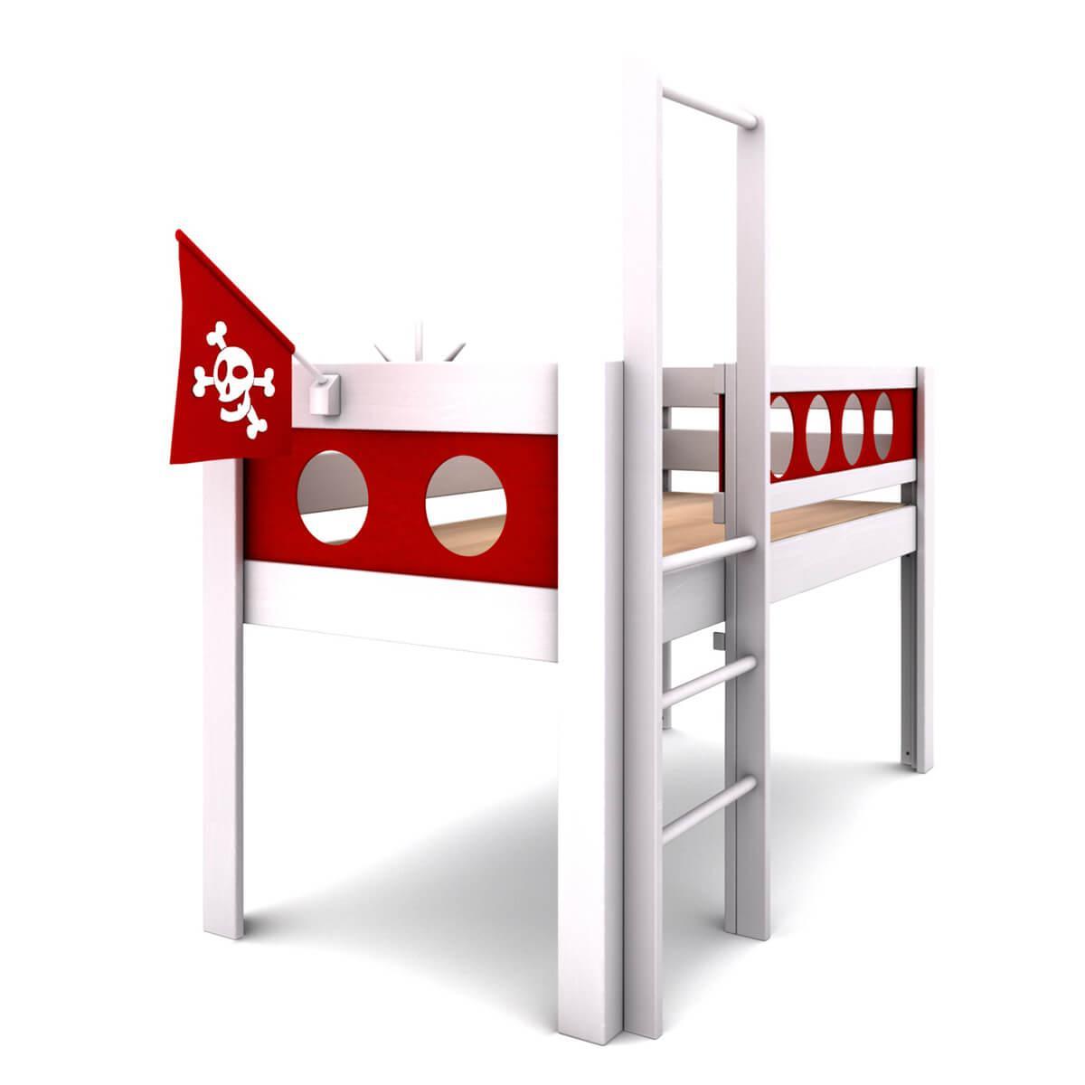 Cama media alta Pirata DELUXE de Breuyn blanco-rojo