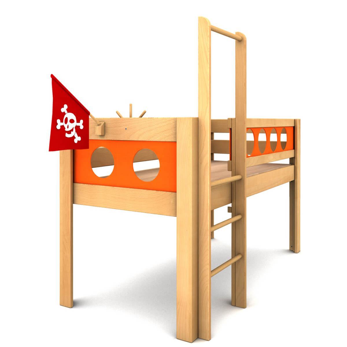 Cama media alta Pirata DELUXE de Breuyn haya aceitada-naranja