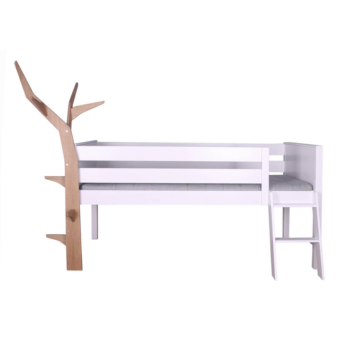 Cama media altura-árbol KASVA De Breuyn haya lacado blanco-chapa roble aceitado