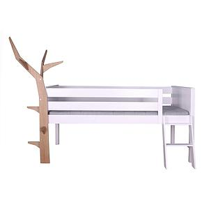 Cama media altura-árbol KASVA haya lacado blanco-chapa roble aceitado